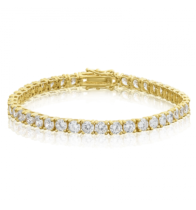 Cubic Zirconia Tennis Bracelet Gold Plated Silver 4x4mm Round White CZ