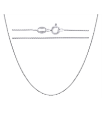 Sterling Silver Round Box Chain 0.75mm - Rhodium Plated