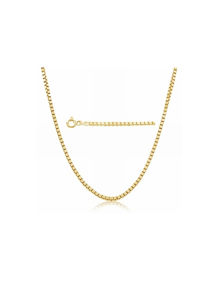 Sterling Silver Box Chain 073mm Gold Plated Silver and CZ