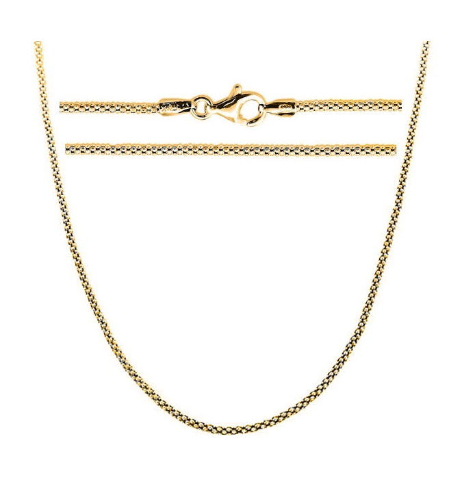 Sterling Silver Popcorn Chain 1.6mm - Gold Plated