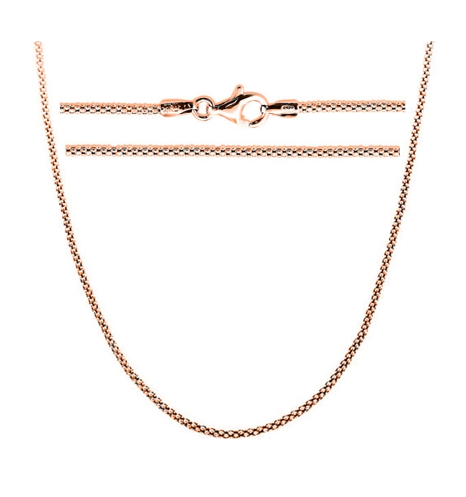 Sterling Silver Popcorn Chain 2mm - Rose Gold Plated