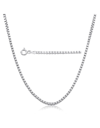 Sterling Silver Box Chain 0.73mm - Rhodium Plated