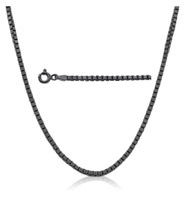 Sterling Silver Box Chain 0.73mm - Black Rhodium Plated