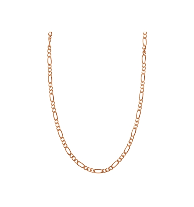 Sterling Silver Figaro Chain 1.7mm - Rose Gold Plated