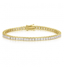Cubic Zirconia Tennis Bracelet Gold Plated Silver 3x3mm Square White CZ