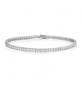 Cubic Zirconia Tennis Bracelet Rhodium Plated Silver 2x2mm Square White CZ