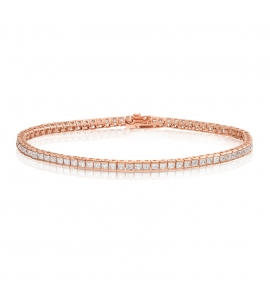 Cubic Zirconia Tennis Bracelet Rose Gold Plated Silver 2x2mm Square White CZ