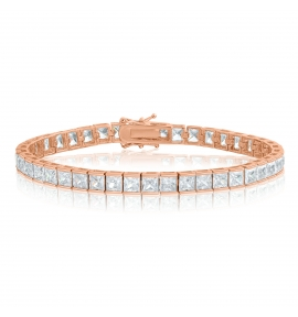 Cubic Zirconia Tennis Bracelet Rose Gold Plated 4x4mm Square White CZ