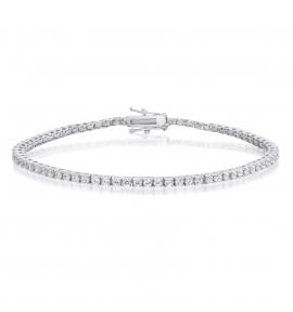 Cubic Zirconia Tennis Bracelet Rhodium Plated 2x2mm Round White CZ
