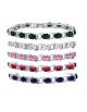 CZ Tennis Bracelet - Oval 7x5 CZ - Silver over Brass - 7 Inch