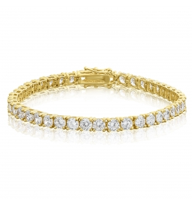 Cubic Zirconia Tennis Bracelet Gold Plated 4x4mm Round White CZ