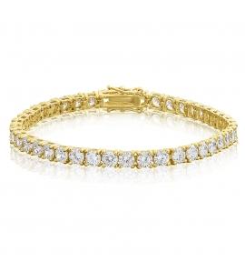 Cubic Zirconia Tennis Bracelet Gold Plated 4x4mm Round White CZ