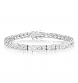 Cubic Zirconia Tennis Bracelet Rhodium Plated Silver 4x4mm Square White CZ