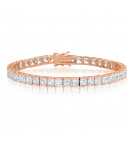 Cubic Zirconia Tennis Bracelet Rose Gold Plated Silver 4x4mm Square White CZ