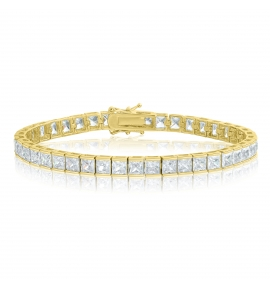 Cubic Zirconia Tennis Bracelet Gold Plated 4x4mm Square White CZ