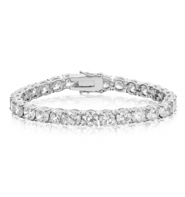 Cubic Zirconia Tennis Bracelet Rhodium Plated 6x6mm Round White CZ