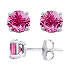 Sterling Silver Round Cut Pink Cubic Zirconia Stud Earrings + Ecoat