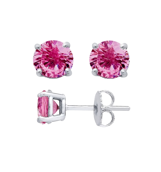 Sterling Silver Round Cut Pink Cubic Zirconia Stud Earrings Ecoat