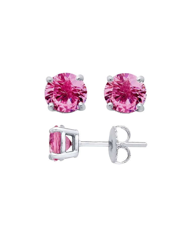 d6ebdd5032570 Sterling Silver Round Cut Pink Cubic Zirconia Stud Earrings + Ecoat ...