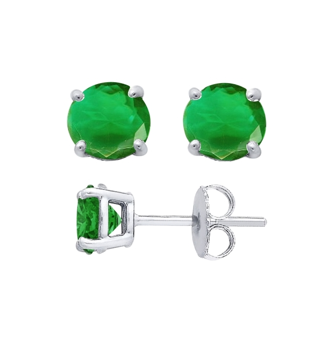 Sterling Silver Round Cut Emerald Cubic Zirconia Stud Earrings + Ecoat