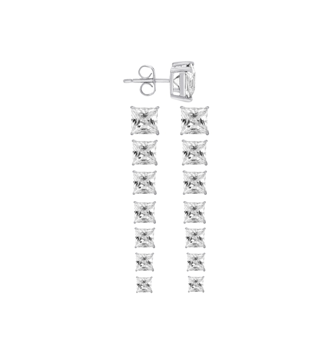 Sterling Silver Square Cut White Cubic Zirconia Stud Earrings + Ecoat