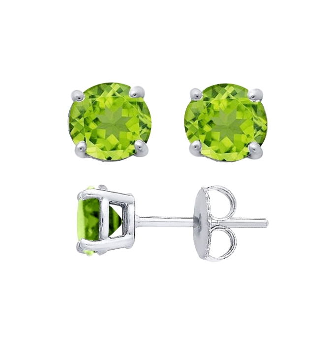 Sterling Silver Round Cut Lime Cubic Zirconia Stud Earrings + Ecoat