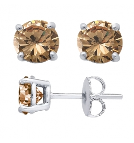 Sterling Silver Round Cut Champagne Cubic Zirconia Stud Earrings + Ecoat