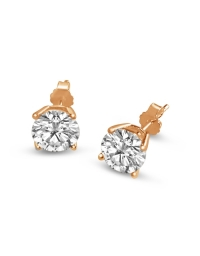 Sterling Silver Round Cut White Cubic Zirconia Stud Earrings - Rose Gold Plated