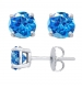 Sterling Silver Round Cut Swiss Glass Stud Earrings + Ecoat