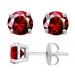 Sterling Silver Round Cut Garnet Cubic Zirconia Stud Earrings + Ecoat