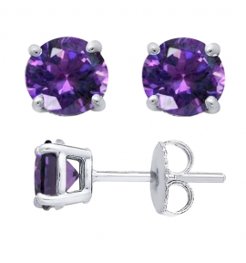 Sterling Silver Round Cut Amethyst Cubic Zirconia Stud Earrings + Ecoat