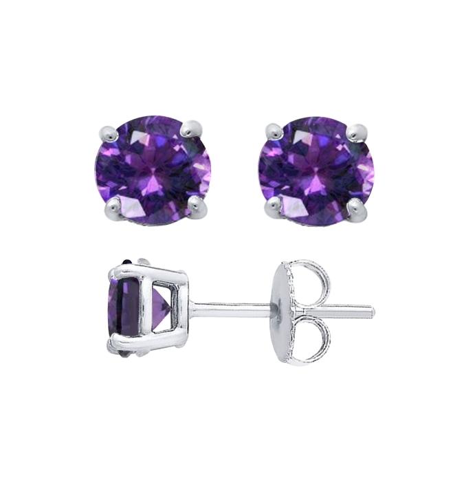 Sterling Silver Round Cut Amethyst Cubic Zirconia Stud Earrings + Ecoat