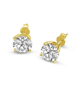 Sterling Silver Round Cut White Cubic Zirconia Stud Earrings - Gold Plated