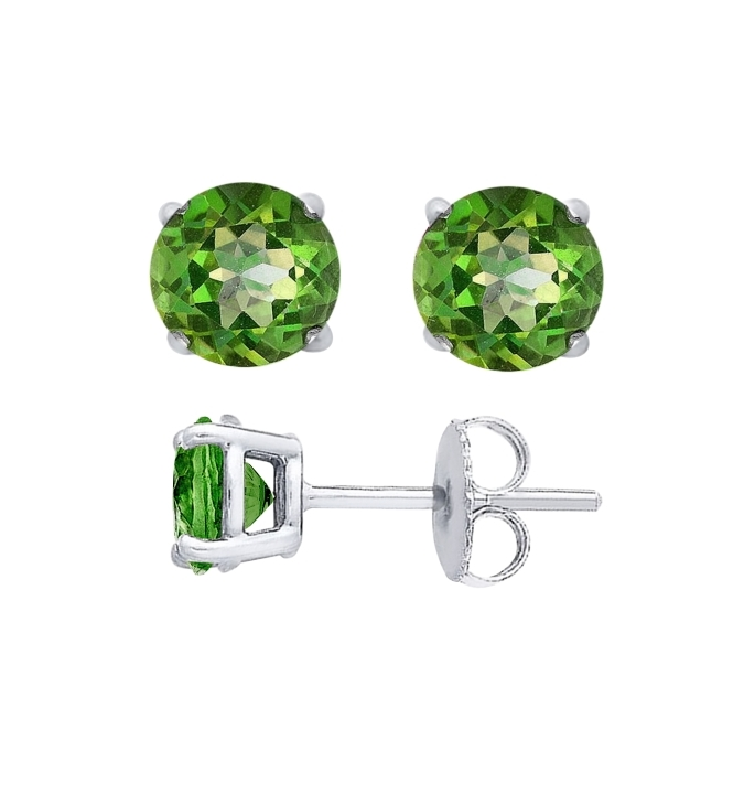 Sterling Silver Round Cut Peridot Cubic Zirconia Stud Earrings + Ecoat