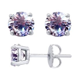 Sterling Silver Round Cut Lavendar Cubic Zirconia Stud Earrings + Ecoat