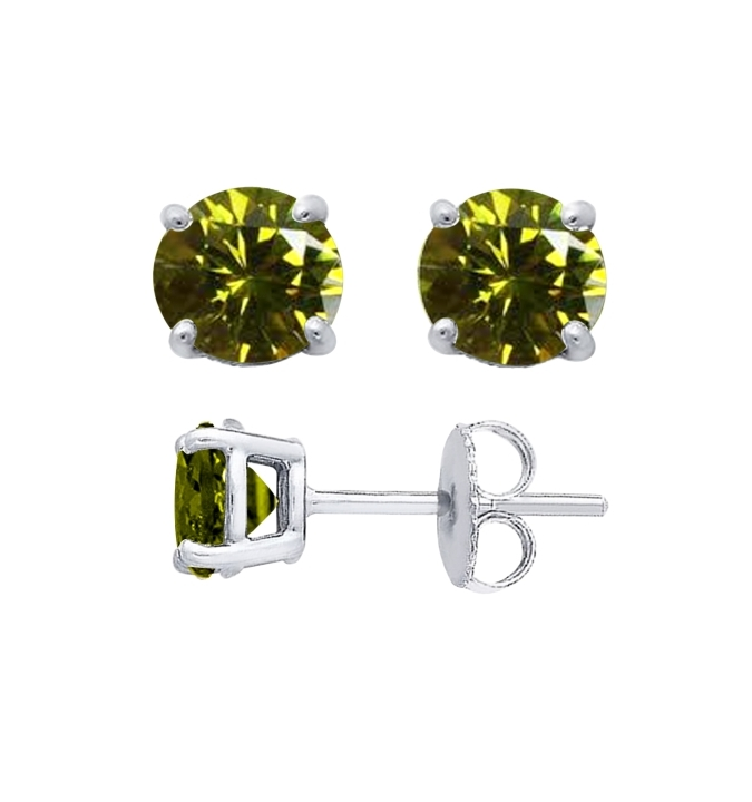 Sterling Silver Round Cut Olive Cubic Zirconia Stud Earrings + Ecoat