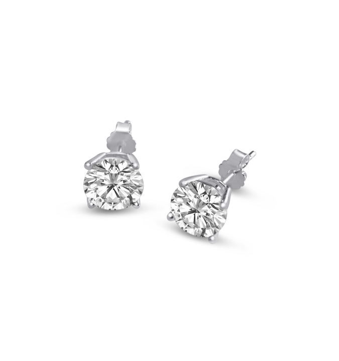 Sterling Silver Round Cut White Cubic Zirconia Stud Earrings + Ecoat