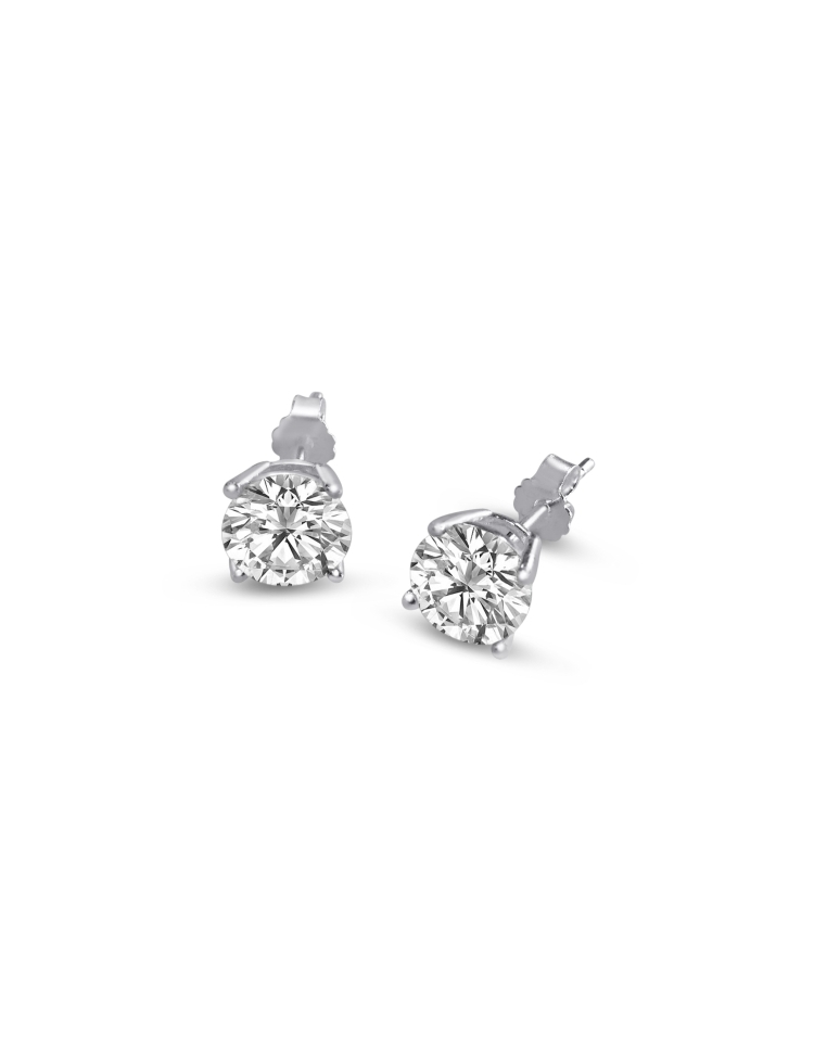 c6ed5fe1e Sterling Silver Round Cut White Cubic Zirconia Stud Earrings + Ecoat ...