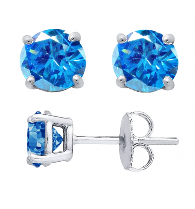 Sterling Silver Round Cut Swiss Cubic Zirconia Stud Earrings + Ecoat