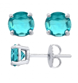 Sterling Silver Round Cut Aqua Glass Stud Earrings + Ecoat