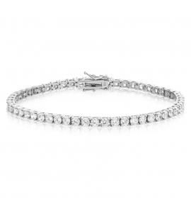 Cubic Zirconia Tennis Bracelet Rhodium Plated Silver 3x3mm Round White CZ