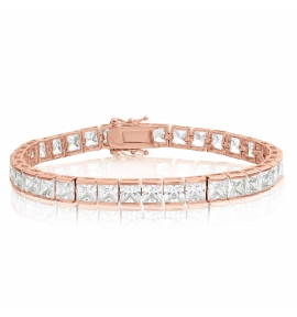 Square 5x5 Tennis Bracelet White CZ- Brass + Rose Gold Plate (6.5 Inch)