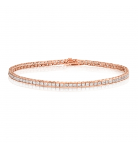 Cubic Zirconia Tennis Bracelet Rose Gold Plated 2x2mm Square White CZ