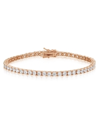 Cubic Zirconia Tennis Bracelet Rose Gold Plated Silver 3x3mm Round White CZ