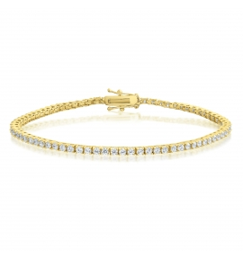 Cubic Zirconia Tennis Bracelet Gold Plated 2x2mm Round White CZ