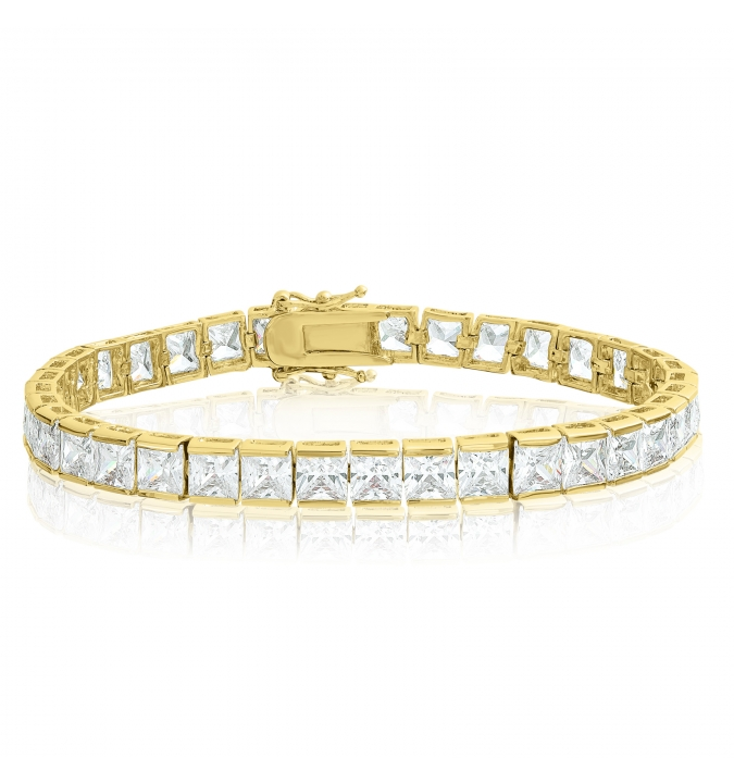 Square 5x5mm White CZ Tennis Bracelet - Gold Plated (6.5 inch)