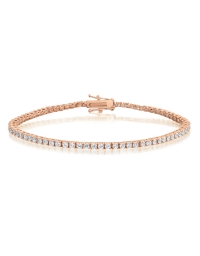 Cubic Zirconia Tennis Bracelet Rose Gold Plated 2x2mm Round White CZ