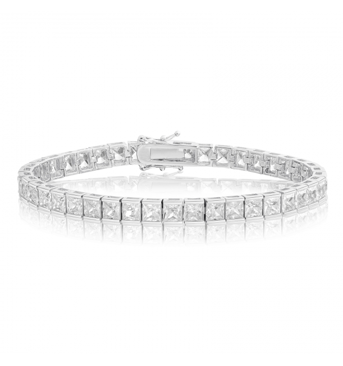 Cubic Zirconia Tennis Bracelet Rhodium Plated 4x4mm Square White CZ
