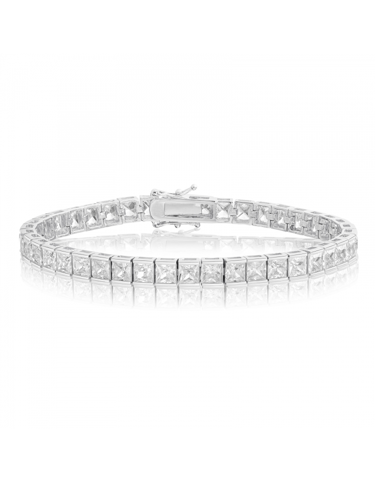 7e70f5f187149 Cubic Zirconia Tennis Bracelet Rhodium Plated 4x4mm Square White CZ ...