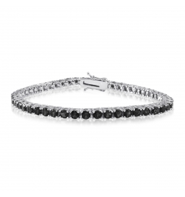 Simulated Diamond Tennis Bracelet Round Cut Black CZ Rhodium Plated Brass 7.25 inch